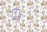 """Лоскут ткани """"Косули с цветочными веночками"""" коричневые на белом (№2227), размер 49*80 см., фото 6"""