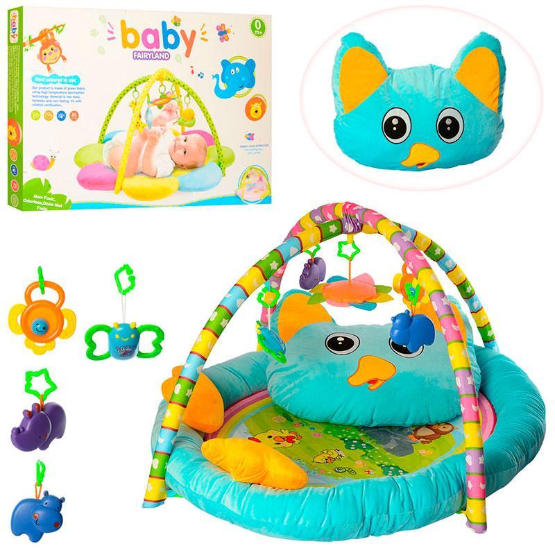 Коврик для младенцев РЕ905 90-71см, с подушкой, дуга 2шт, 5 подвесок