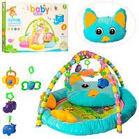 Коврик для младенцев РЕ905 90-71см, с подушкой, дуга 2шт, 5 подвесок                                , фото 1