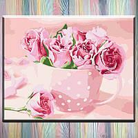 """Живопись по номерам, холст на подрамнике, Цветы """"Чайные розы"""" 40*50 см, без коробки"""