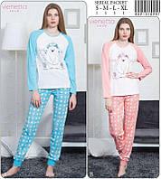 Комплект женский (футболка длинный рукав+штаны) х/б (S-XL) VS, ПАК/4 шт