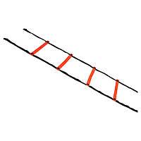 Координационная лестница SELECT Agillity ladder - indoor (216), оранж/черн (14 ступеней, 6 м), фото 1