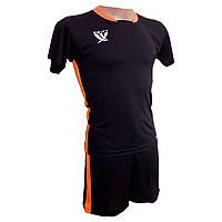 Футбольная форма детская Swift PRIORITET (черный-н.оранжевый), фото 1