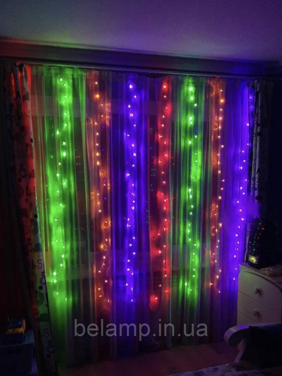 Новогодняя гирлянда штора 2 на 2 метра. 200 led. Разноцветные огни