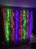 Новорічна гірлянда штора 2 на 2 метри. 200 led. Різнокольорові вогні