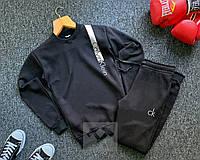 Теплый мужской спортивный костюм черного цвета Кельвин