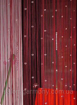 Штори нитки Червоні з прозорими намистинами алмазними