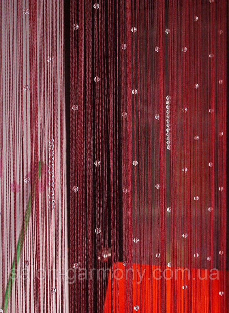 Шторы нити  Красные с прозрачными алмазными бусинами, фото 1