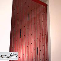 Шторы нити  Красные с черными  жемчужинами, фото 1