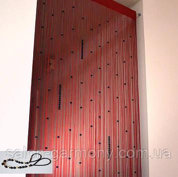 Штори нитки Червоні з чорними перлинами