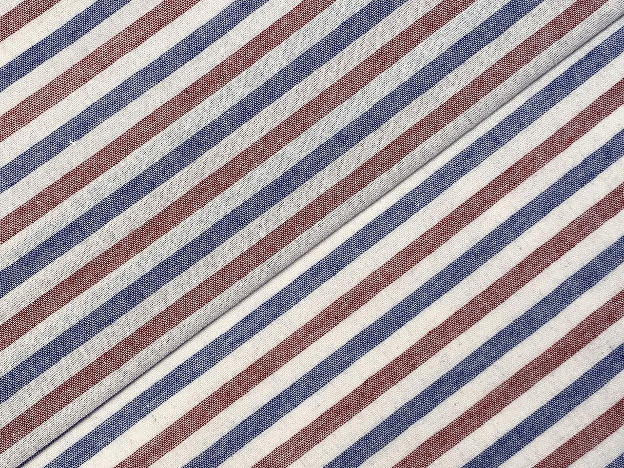 Коттон прованс полоска 7 мм, коралловый с синим