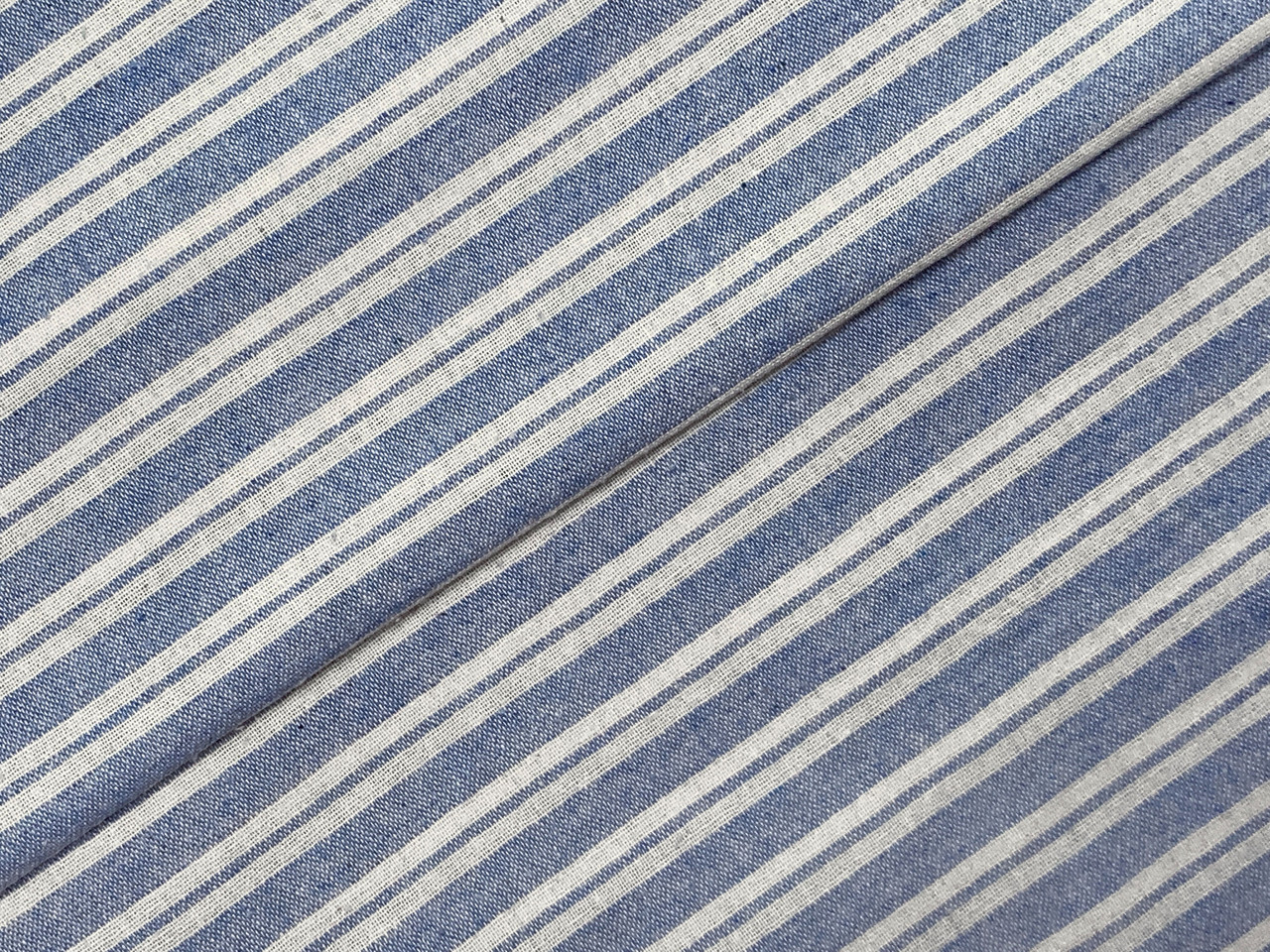 Коттон прованс полоска 10 мм, голубой на белом