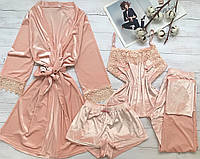 Женский велюровый халат  S-M пудра
