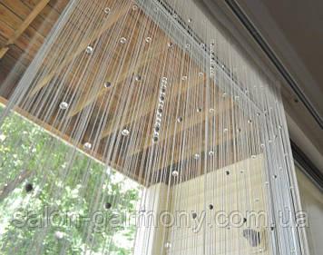 Штори нитки Білі ЛЮКС ГУСТІ з прозорими алмазними намистинами і чорним перлами