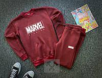 Теплый мужской спортивный костюм Marvel бордового цвета