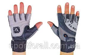 Перчатки для тяжелой атлетики кожаные Zelart  размер M-XL серо-черный  ZB-8121