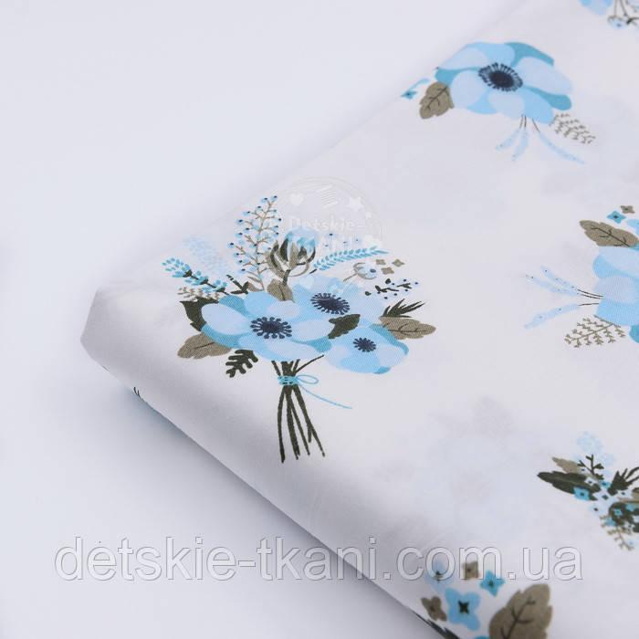 """Лоскут сатина """"Букетики голубых цветов анемонов"""" на белом № 1470с, размер 80*31"""