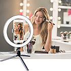 Кольцо светодиодное 26 см с держателем для телефона на мини штативе. Кольцевая LED лампа 26 см, фото 2