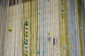 Штори нитки Веселка блакитний +оливка +срібло з алмазними намистинами