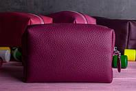 """Косметичка """"Монро"""" из натуральной мягкой кожи.Цвет - темно-розовый (Малиновое сияние), фото 1"""