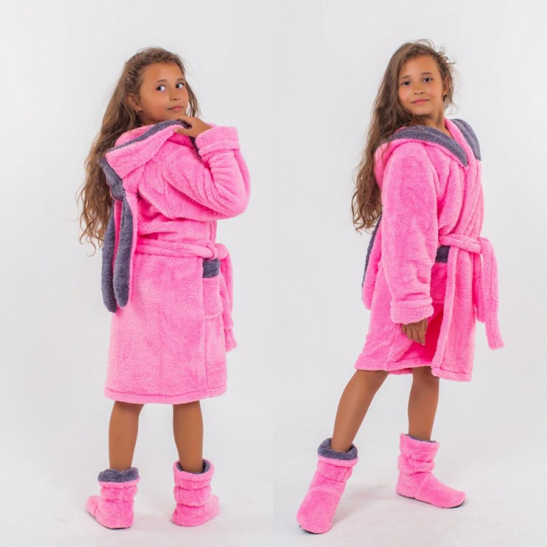 """Детский домашний махровый комплект халат + сапожки 001 """"Зайка"""" в расцветках"""