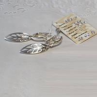 Срібні сережки Калатея ажурні листочки без камінців