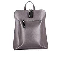 Женский городской кожаный рюкзак ASSA, серого цвета