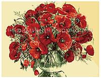 """Картина по номерам """"Красные маки в стеклянной вазе"""", КН1076, 40х50см., фото 1"""