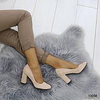 Женские туфли лодочки с закругленным носом на удобном толстом каблуке розовые пудра, фото 1