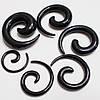Набор растяжек спиралей от 2 до 8мм (6 шт.) черный акрил. Для пирсинга ушей