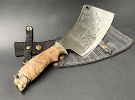 """Нож-секач ручной работы """"Кабан"""" в кожаных ножнах"""