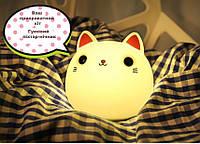 Светильник ночник Резиновый Кот разноцветный LED, Оригинальный подарок на новый год 2,5 х 11,5 х 11,5 см.