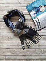 Мужской теплый  шарф Лестер серый с бежевым