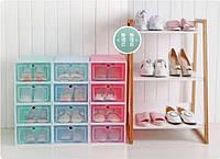 ЖЕСТКИЕ коробки для обуви прозрачная хранение обувные box органайзер 3 шт.