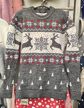 Вязаный свитер детский с оленями на мальчиков, фото 2