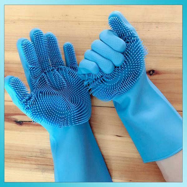 Универсальные силиконовые перчатки для мытья посуды и уборки UTM Magic Silicone Gloves