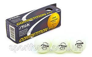 Набір м'ячів для настільного тенісу 3 штуки SGA 3 Star COMPETITION (d-40мм, білий) Replika MT-5943