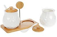 Набор (2шт) банок 300мл для сыпучих продуктов с ложками на бамбуковой подставке Naturel, 20см
