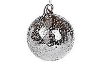 Елочный шар полупрозрачный, 8см, цвет - зеркальный графит