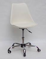 Кресло мастера пластик на колесах Milan office (Милан) молочный, мягкое сиденье экокожа