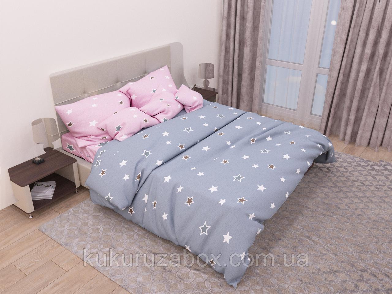 Двуспальный комплект постельного белья с евро простыней «Игривые звезды» из бязи голд