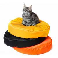 Бескаркасный круглый лежак для котов из ткани Оксфорд стронг 55*10 см. с чехлом