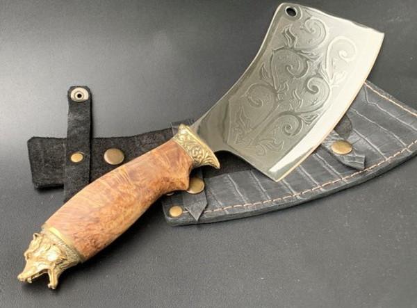 """Нож-секач ручной работы """"Медведь"""" в кожаных ножнах"""