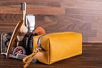 Мужской кожаный несессер Hidemont Непал желтого цвета (Медово-золотистый), фото 1