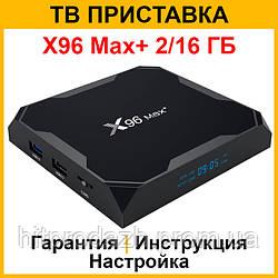 Смарт ТВ приставка X96 Max+ 2/16 ГБ S905X3 Андроид 9 (Android Smart TV Box, медиаплеер, ТВ тюнер)