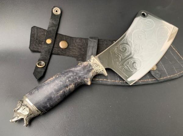 """Нож-секач ручной работы """"Медведь"""" мельхиор, в кожаных ножнах"""