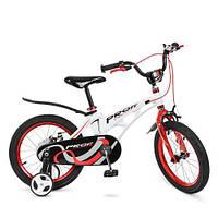 Велосипед дитячий PROF1 16д. LMG16202 Infinity, магнез. рама, дзвінок, дод. кол., біло-червоний., фото 1