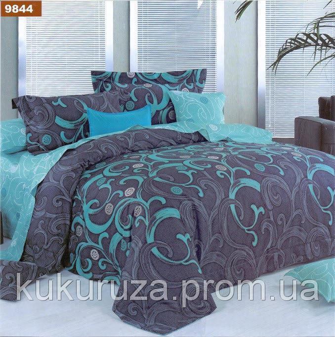 Двуспальный комплект постельного белья с евро простыней «Бирюза» из бязи голд