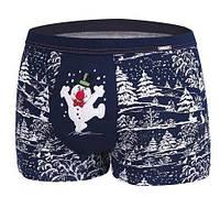 Мужские новогодние подарочные трусы шорты с принтом Merry Christmas Сніговик Cornett 047/49