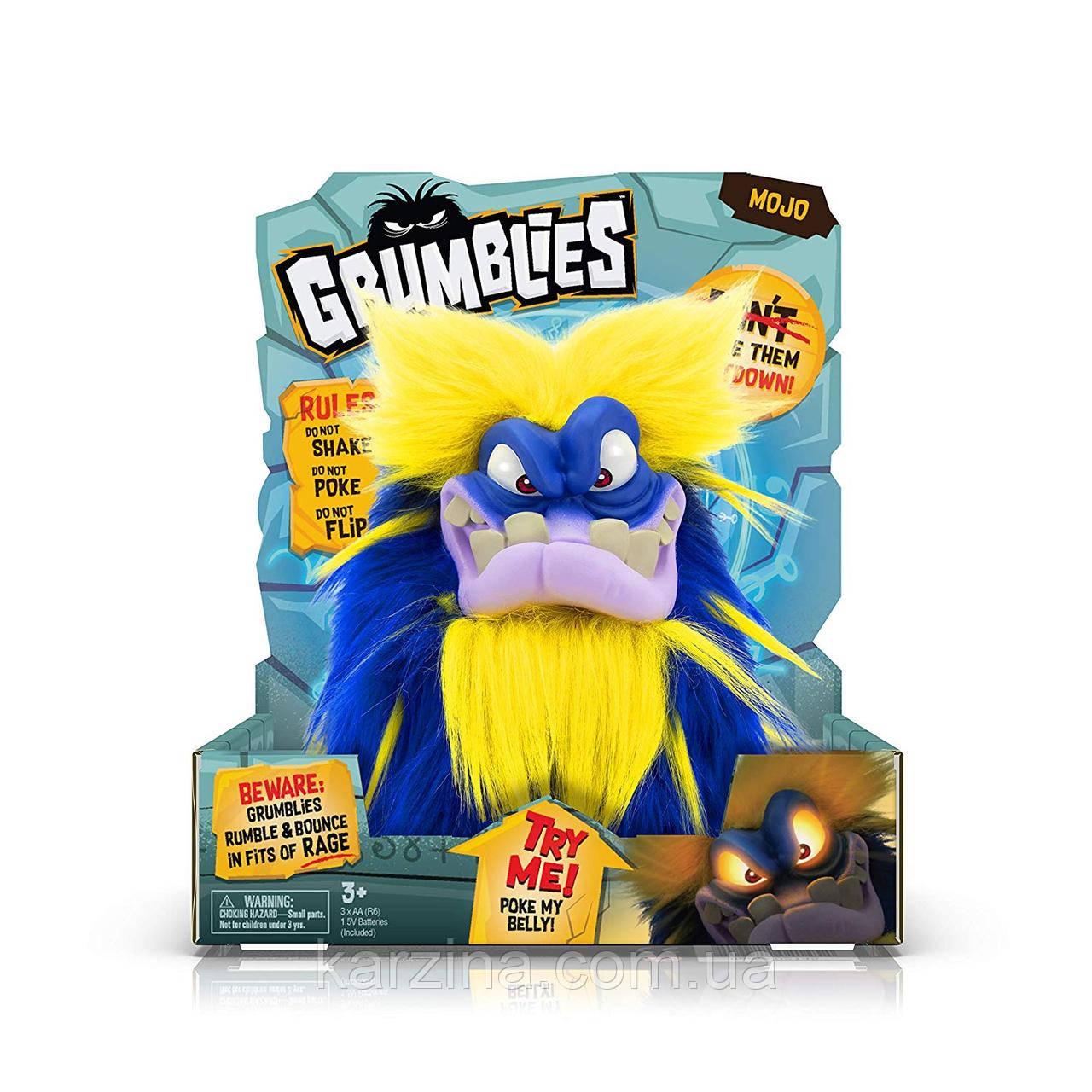 Интерактивная игрушка Grumblies Mojo Грамблз Моджо Сине-жёлтый светятся глаза